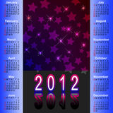 American calendar 2012. American calendar 2012 with abstract background stock illustration