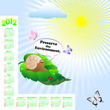 American calendar 2012. Calendar 2012 with Snail and bubble with text-Preserve the Environment Stock Photography