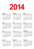 American Calendar 2014 in vector Royalty Free Stock Photos