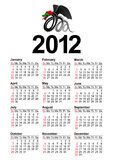 American Calendar. For 2012 (the year of the black dragon Royalty Free Stock Photo