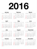 American Calendar for 2016. Extremely carefully designed american calendar for 2016 in english language isolated on white background. Starts Sunday, Helvetica Stock Illustration