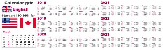 American calendar standard US. English language pattern for 2018 2019 2020 2021 2022 2023 week starts on Sunday, USA stock illustration