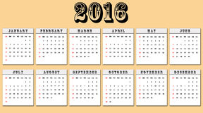 American calendar 2016 week starts on Sunday Royalty Free Stock Photography