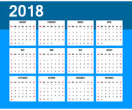 American calendar 2018. Week starts on Sunday. Office grid for 2018. Blue and white color Royalty Free Stock Image