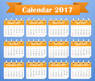 American Calendar for 2017. Week starts on Sunday. Vector illustration Stock Image