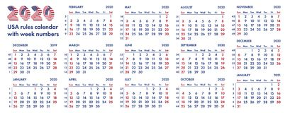 Calendar With Week Numbers 2020 2020 American Calendar Weeks Illustration Stock Illustration