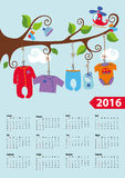 American calendar 2016 year.Baby boy fashion. Calendar 2016.Baby clothes for newborn baby boy hanging on the rope on the branches of a tree.Cartoon flat vector stock illustration