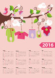 American calendar 2016 year.Baby girl fashion. Calendar 2016.Baby clothes for newborn baby boy hanging on the rope on the branches of a tree.Cartoon flat vector stock illustration