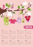 American calendar 2016 year.Baby girl fashion Royalty Free Stock Photos