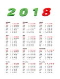 year 2018 calendar - United States Of America Royalty Free Stock Image