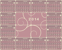 American calendar for 2014 year. Stock Image