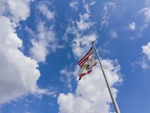 The American and California flag fluttering. Photo taken at Los Angeles County, California, United States royalty free stock photos