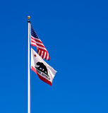American and California State Flags Stock Image