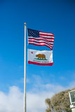American and Californian Flag Royalty Free Stock Photos
