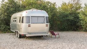 American camper. At a camping site Royalty Free Stock Images