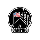 American Camping logo. Emblem for accommodation camp. USA flag. Stock Images