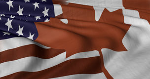 American and Canadian Flag. 3D illustration of USA and Canada flag fluttering in light breeze Stock Photo