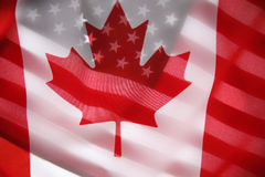 American and Canadian flags Stock Image