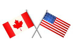 American and Canadian flags. Vector illustration. vector illustration