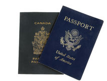 American and Canadian passports (American on top) Royalty Free Stock Image