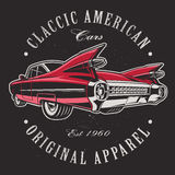 American car on black background. Text is on the seprate layer Stock Image