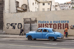 American car and Che Guevara in Cuba Stock Photography