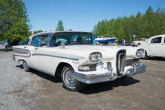 American car Edsel Citation 1958 model year on the parade of vintage cars. Kerimaki, Finland Royalty Free Stock Photo