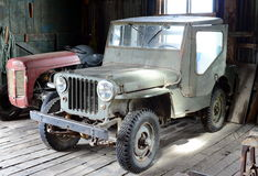 American car jeep on the estate Herberton. Royalty Free Stock Images