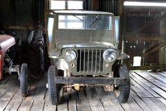 American car jeep on the estate Herberton. Royalty Free Stock Photos