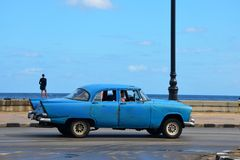 American car at Malecon in Havana, Cuba Royalty Free Stock Photos