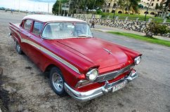 American car at Malecon in Havana, Cuba Royalty Free Stock Photography