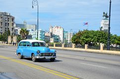 American car at Malecon in Havana, Cuba Royalty Free Stock Image