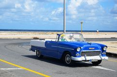 American car at Malecon in Havana, Cuba. Malecon in Havana and typical American car, Cuba Stock Image