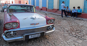 American car in Trinidad Royalty Free Stock Image
