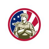 American Carpenter USA Flag Icon Royalty Free Stock Images