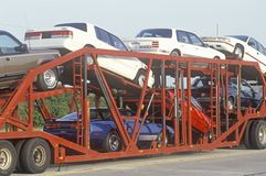 American cars being transported to the marketplace Stock Photography