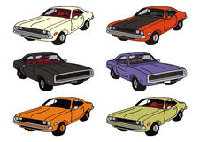 American cars. Drawing of classic american musclecars Stock Photo