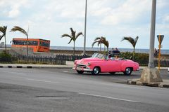 American cars at Malecon in Havana, Cuba Royalty Free Stock Image