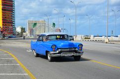 American cars at Malecon in Havana, Cuba Stock Photo