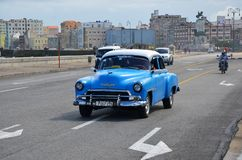 American cars at Malecon in Havana, Cuba Royalty Free Stock Photo