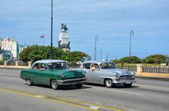 American cars at Malecon in Havana, Cuba Royalty Free Stock Photography