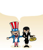 American cartoon couple social bubble Royalty Free Stock Photo