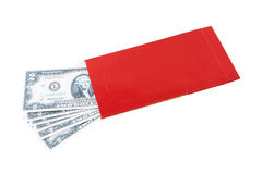 American cash in red envelope Stock Photography