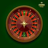 American casino roulette wheel on dark green background. Vector illustration Royalty Free Stock Photo