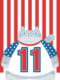 American Cat. A chubby gray cat is wearing a  USA  t-shirt with no11 is on Stock Photo