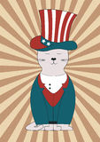 American cat. Retro poster cute  american cat Royalty Free Stock Image