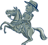 American Cavalry Officer Riding Horse Prancing Cartoon Royalty Free Stock Photography