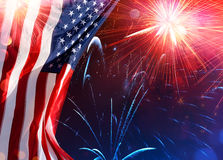 American Celebration - Usa Flag. With Fireworks Stock Photo