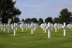 American Cemetery at Normandy. In Colleville-sur-Mer, France. The cemetery overlooks Omaha Beach royalty free stock photos