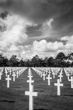 The American Cemetery in Normandy, France. Black and White of final resting place for WWII US servicemen Stock Photo